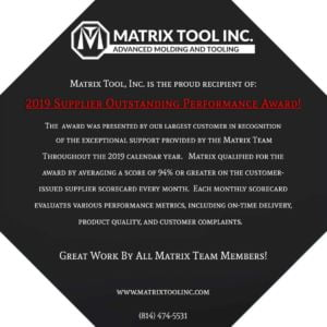 Matrix Tool Is Awarded The 2019 Supplier Outstanding Performance Award!